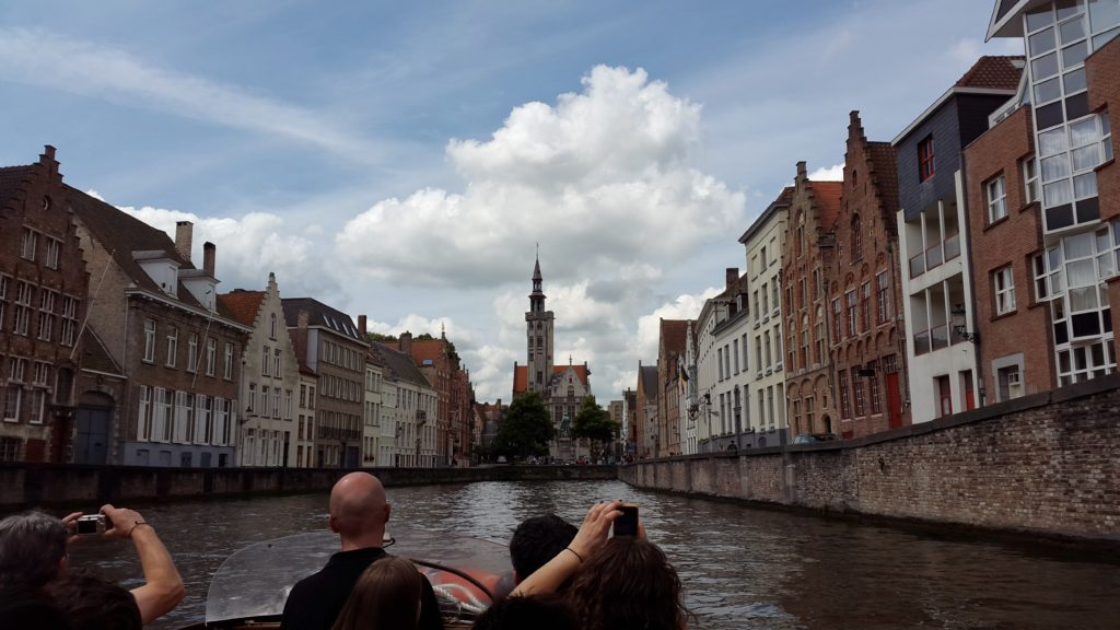 Rozenhoedkaai canal boat ride,Church of Our Lady, Bruges