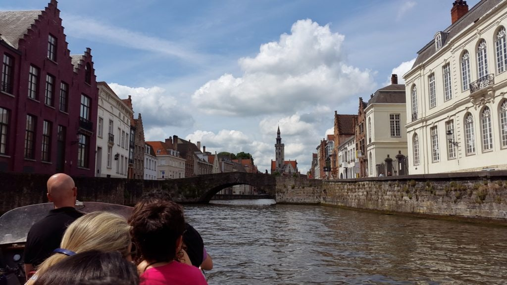 Rozenhoedkaai canal boat ride,bruges, Church of Our Lady